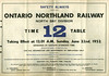 ONR Employee Timetable 1952 June 22 : Ontario Northland Railway Timetable 1952 June 22nd